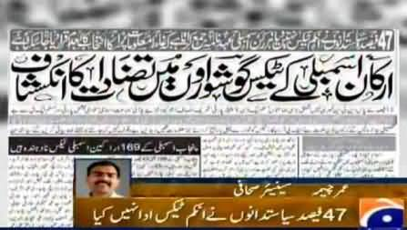 47% MP's of Pakistan Do Not Pay Income Tax, 12% Have No NTN, Umar Cheema Report