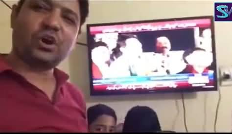 A Father Expressing His Views While Listening Imran Khan Speech