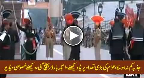 A Great Number of People Reached Wagah Border, Raising Slogans with High Morale