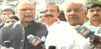 Ahsan Iqbal And Khawaja Asif Latest Media Talk About Nawaz Sharif's Health