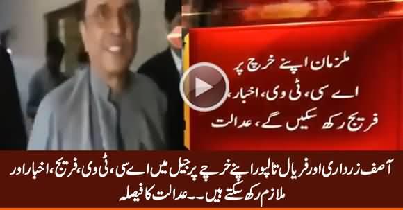 Asif Zardari & Faryal Talpur Can Avail Facilities in Jail on Their Own Expenses - Court Verdict