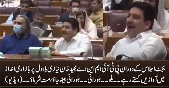Billo... Billo Rani.... PTI MNA Majeed Khan Niazi Kept Shouting on Bilawal During Budget Session