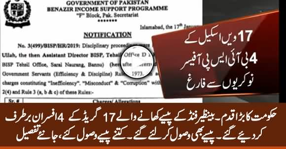 BISP Scandal: Govt Removes 4 Grade -17 Officers From Office