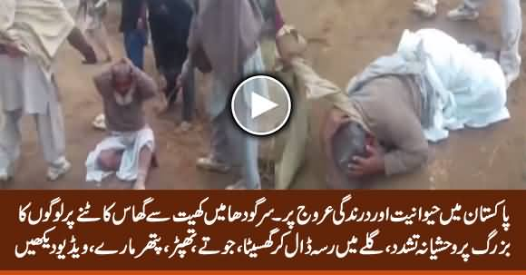 Buzurag Shakhs Ke Galaay Mein Kapra Daal Kar Ghaseetney Ki Video Manzar-e-Aam Par Aa Gai