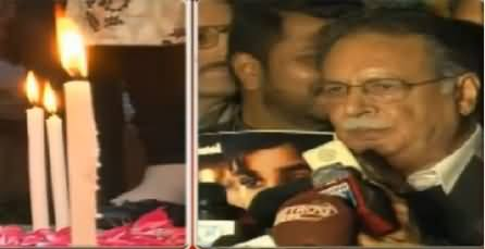 Candlelight Vigil For Peshawar Victims: Participants Not Letting Talk  Pervez Rasheed