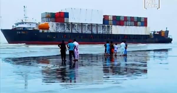 Cargo Ship Helpless On The Shores Of Karachi