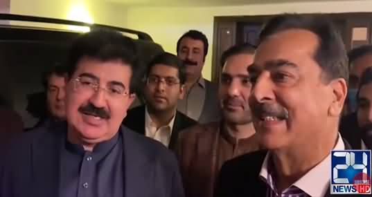 Chairman Senate Sadiq Sanjrani Reaches Yousaf Raza Gillani's Home To Congratulate Him on His Victory