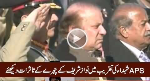 Check The Face Expressions of PM Nawaz Sharif in APS Martyrs Ceremony
