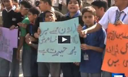 Children of Different Schools Protest Against Drone Strikes