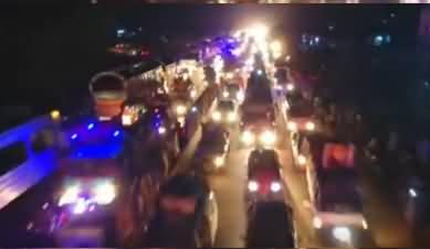 Drone View of Maulana Fazlur Rehman's Azadi March At Night