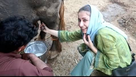 European Girl Enjoying Pakistani Village Life
