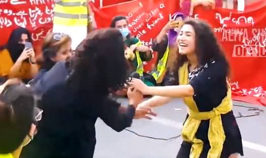 Exclusive Video of Aurat March in Lahore: Young Girls & Boys Showing Their Talent