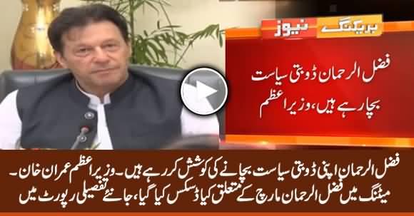 Fazlur Rehman Is Trying to Protect His Politics - PM Imran Khan