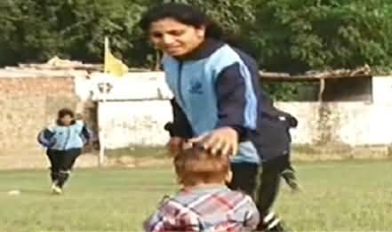 Female Football Player Nadia Nazir took her little son on her trainning session