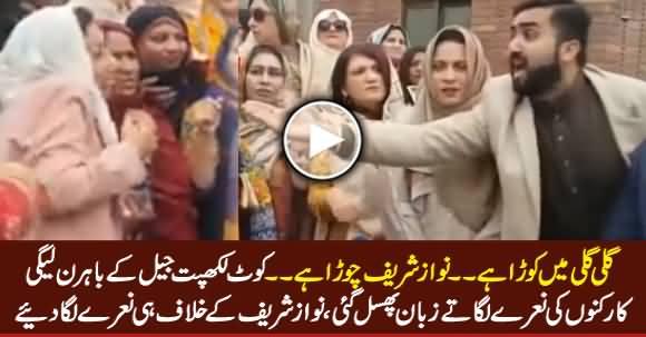 Gali Gali Mein Kora Hai, Nawaz Sharif Chora Hai - PMLN Workers Slip of Tongue