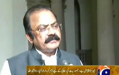 Geo Has Played Vital Role For Democracy, It Should Not Be Banned - Rana Sanaullah