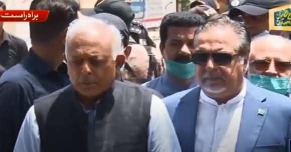 Ghulam Sarwar And Governor Sindh Media Talk About Plane Crash