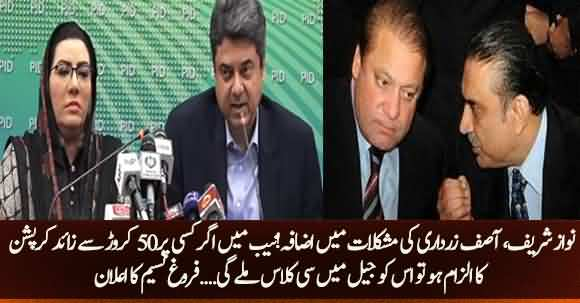 If Any NAB Accused Found Guilty Of More Than 50 Million Rupees Shall Be Given C Class In Jail - Farogh Nasim