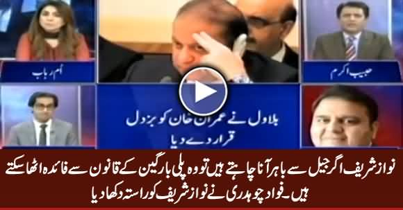 If Nawaz Sharif Wants to Come Out of Jail, He Can Exercise Plea Bargain Law - Fawad Chaudhry