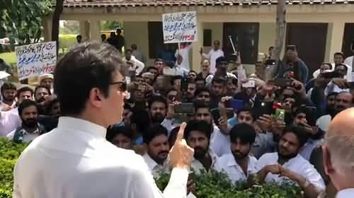 Imran Khan among PTI workers at Banigala to listen to their grievances about allotment of tickets.