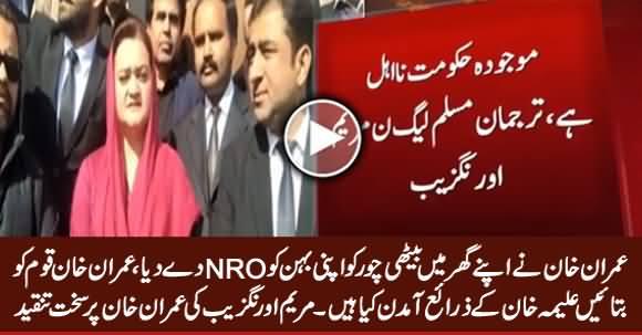 Imran Khan Gave NRO To His Thief Sister Aleema Khan - Maryam Aurangzeb