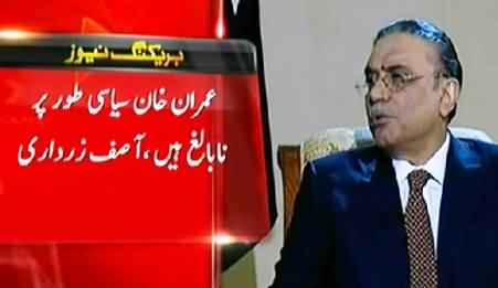 Imran Khan is Politically Immature, Sit-ins Are Dangerous For Economy - Asif Zardari