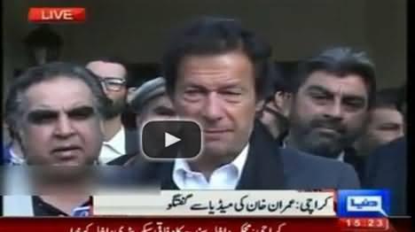 Imran Khan Talking To Media in Karachi - 8th January 2014