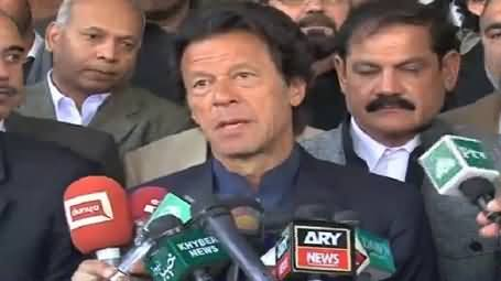 Imran Khan Talking to Media Outside Parliament - 9th November 2015