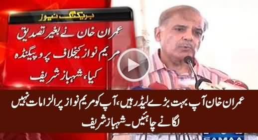 Imran Khan You Should Not Put False Allegations on Maryam Nawaz - Shahbaz Sharif