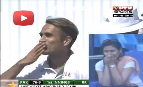 Imran Tahir flying kiss for his wife after taking 5 wickets against Pakistan