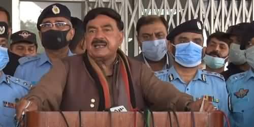 Incidence Of Firing On A Police Vehicle In Islamabad - Sheikh Rasheed Ahmad Tells Details In Media Talk