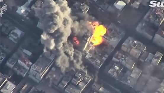 Israel Defence Fore Release Aerial Footage of Huge Airstrikes Targeting Hamas Intelligence Buildings in Gaza