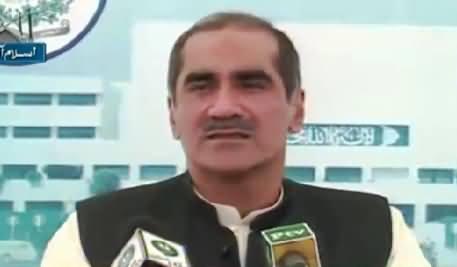 Khawaja Saad Rafique Media Talk Outside Parliament – 4th August 2015