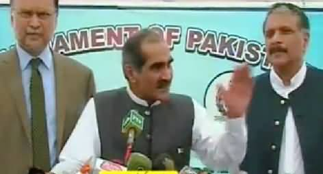 Khawaja Saad Rafique Talking to Media About Govt's Efforts to Engage PTI and PAT