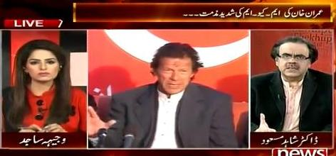 Live With Dr. Shahid Masood (Imran Khan Badly Criticize MQM) - 30th January 2015