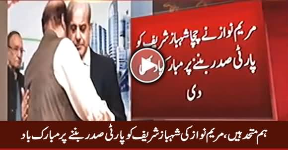 Maryam Nawaz Congratulates Shahbaz Sharif After Being Elected As PMLN President