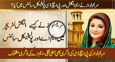 Maryam Nawaz Holds Fake Degree of Ph.D, MA Degree Also Dubious