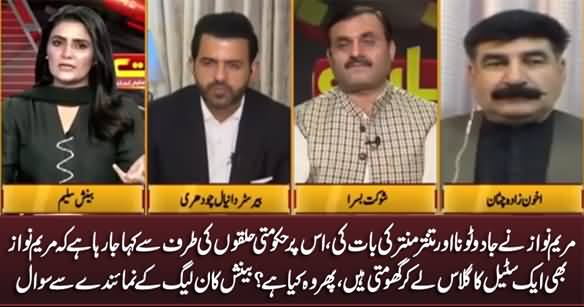 Maryam Nawaz Jo Steel Ka Glass Le Ker Ghomti Hain Wo Kia Hai? Benish Asks PMLN's Representative