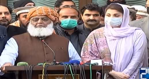 Maulana Fazlur Rehman And Maryam Nawaz Media Talk After PDM Meeting - 18th January 2021