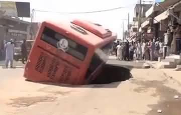 Metrobus falls into sinkhole in Multan