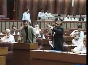 MQM Members Protest in National Assembly on the Demand of Altaf Hussain's Return in Pakistan