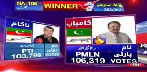 NA-106 Faisalabad Rana Sanaullah wins