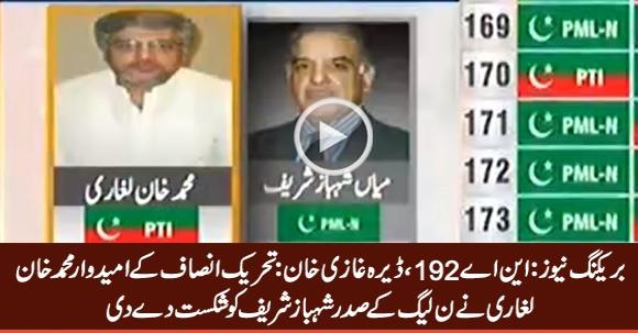 NA-192 DG Khan: PTI's Muhammad Khan Laghari Defeats Shahbaz Sharif
