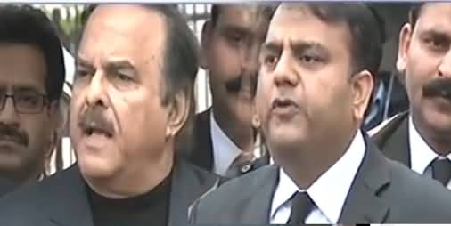 Naeem ul Haq And Fawad Chaudhry Complete Media Talk Outside Supreme Court