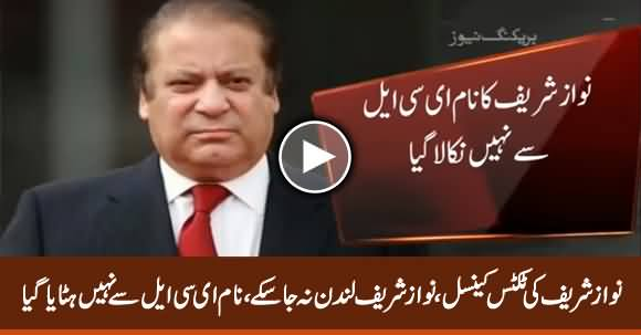 Nawaz Sharif's Tickets For London Cancelled Due to His Name on ECL