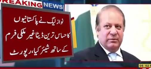 Nawaz Sharif Shared Sensitive Data of Pakistan With Foreign Firm - Shocking Report