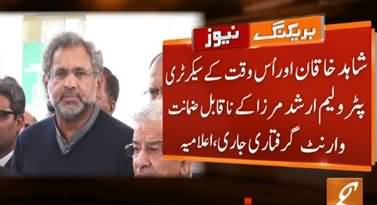 Non-Bailable Arrest Warrant Issued for Shahid Khaqan Abbasi