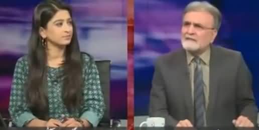 Nusrat Javed Bashing Caller For Saying Why Nawaz Sharif Dosen't Take Kalbhushan's Name