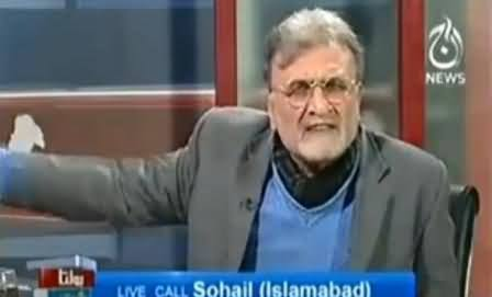 Nusrat Javed Gets Angry With Live Caller on Defending Pervez Musharraf
