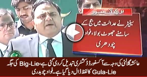 Oxford Dictionary Changed Due to Ayesha Gulalai, Big-Lie Replaced With Gula-Lie  - Fawad Chaudhry